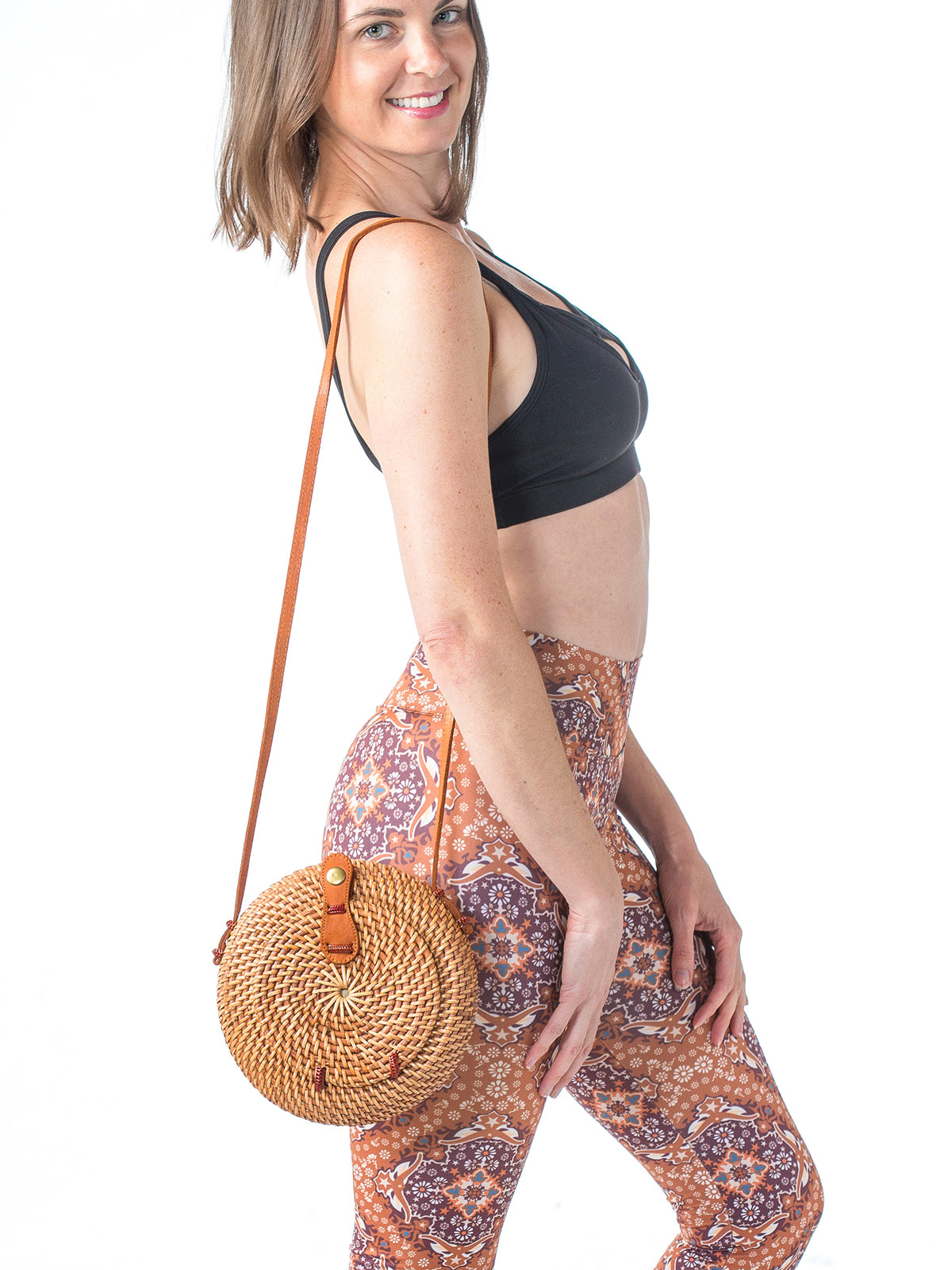 Nusa Handwoven Round Bag Chestnut