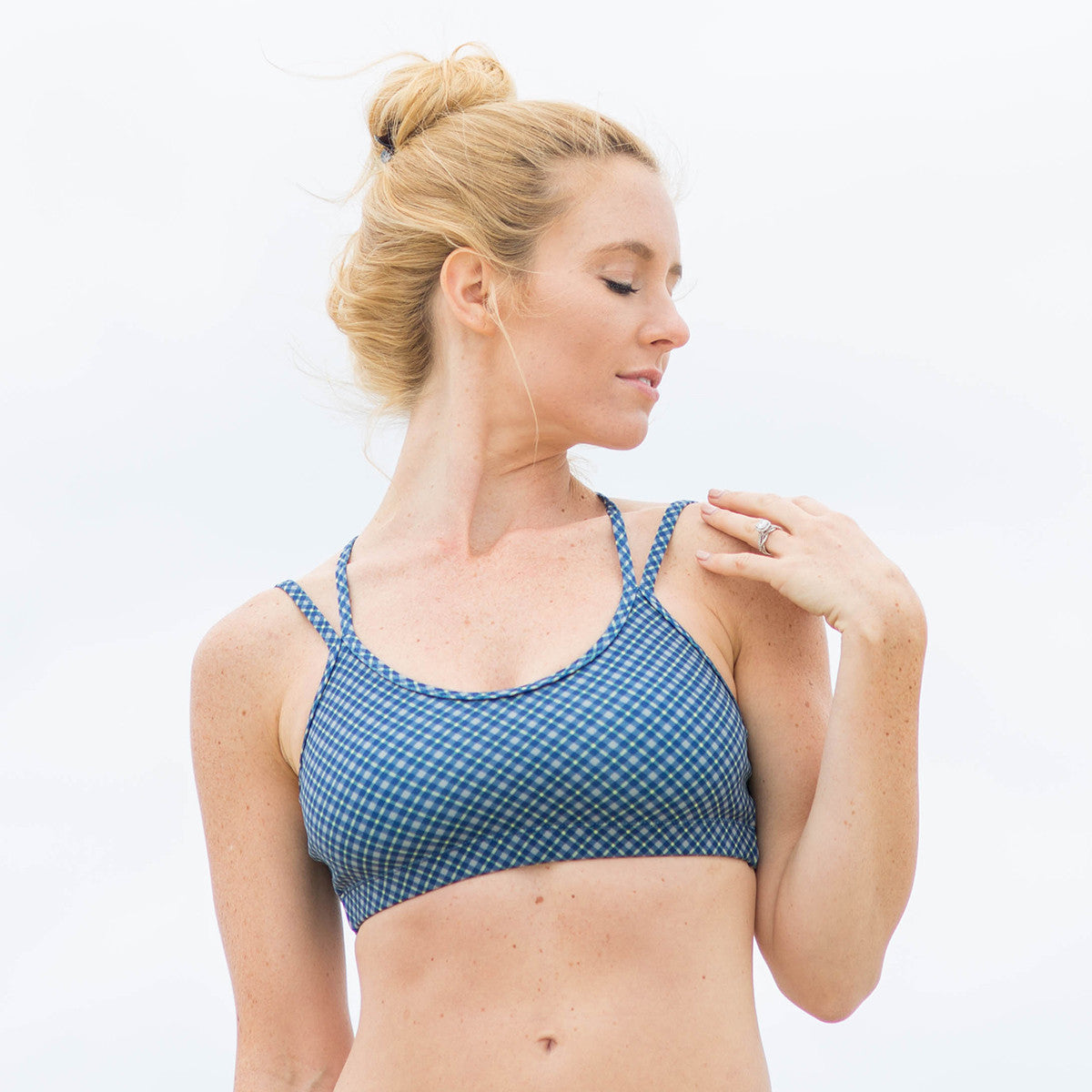 Bahasa Strappy Sports Bra Navy Blue Plaid Cadet Print