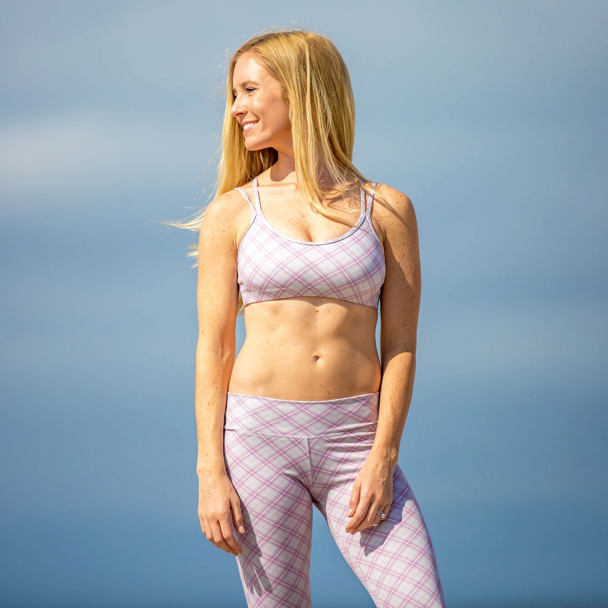 Bahasa Strappy Sports Bra Gray & Pink Plaid Scout Print