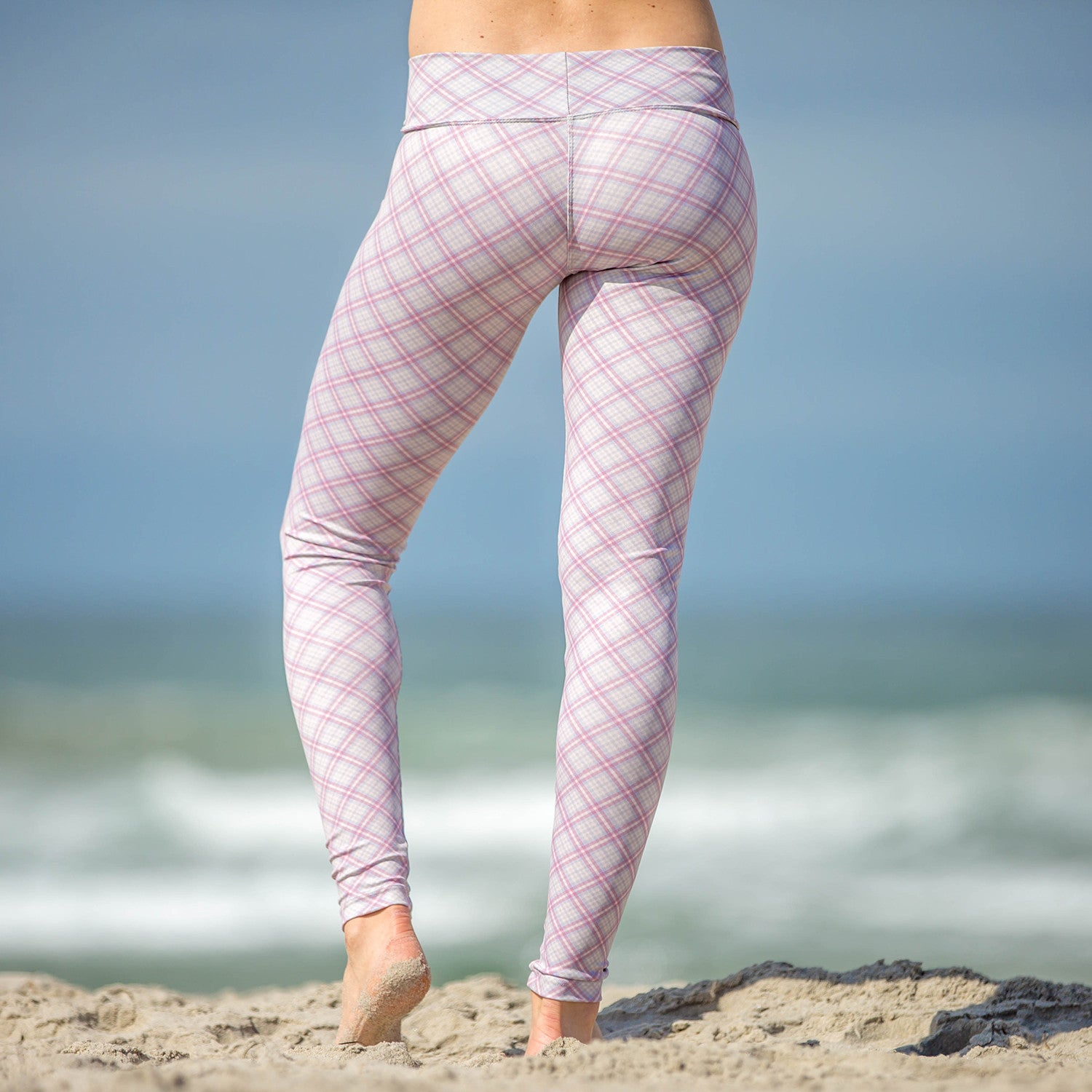 Baja Leggings Gray & Pink Plaid Scout Print