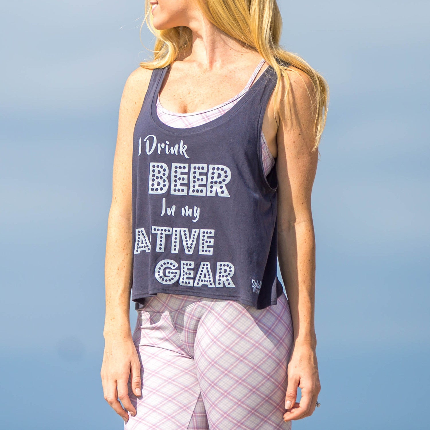 "Graphic Tank ""I Drink Beer in My Active Gear"" Charcoal Grey"