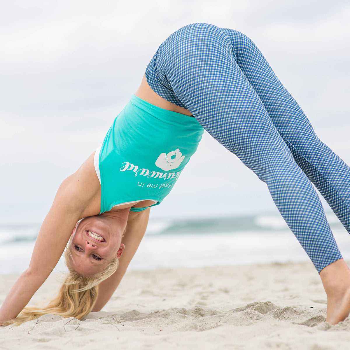 "Graphic Tank ""Meet Me In Downward Dog"" Teal"