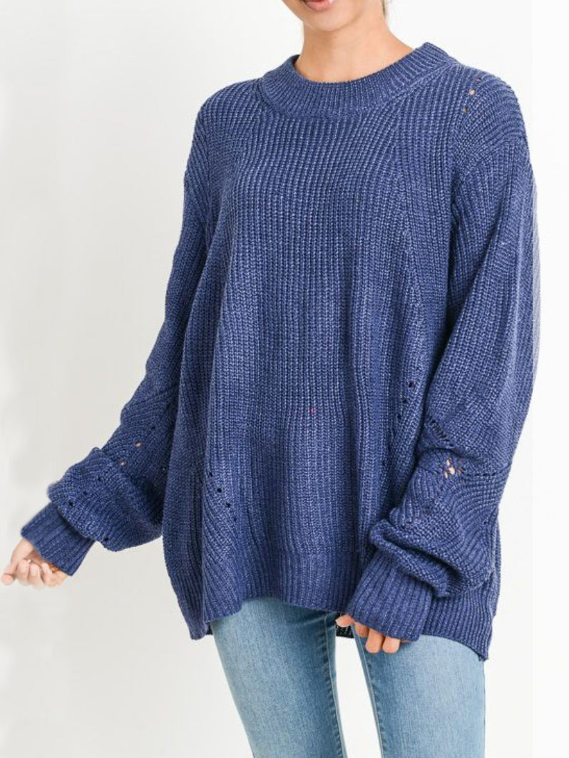 Oversize SoCo Sweater Chambray Blue