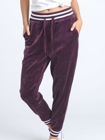 Stadium Velour Joggers Deep Plum