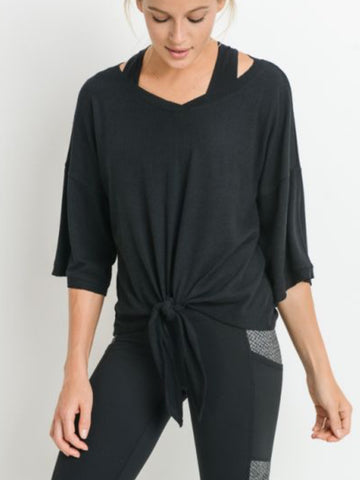 Ribbed Twist Tie Tee Jet Black