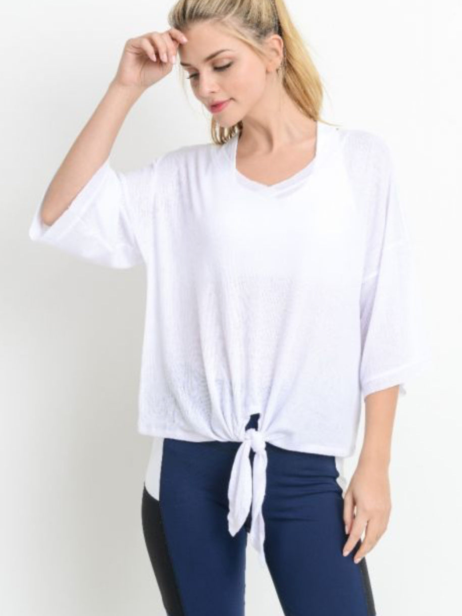 Ribbed Twist Tie Tee Cloud White