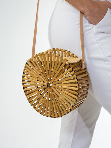 Ulu Round Bamboo Handbag Natural with Adjustable Strap