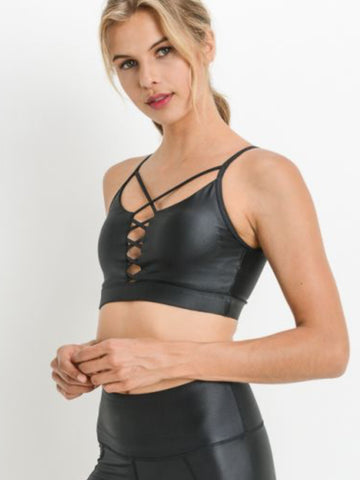 Uptown Spaghetti Strap Sports Bra Glazed Black