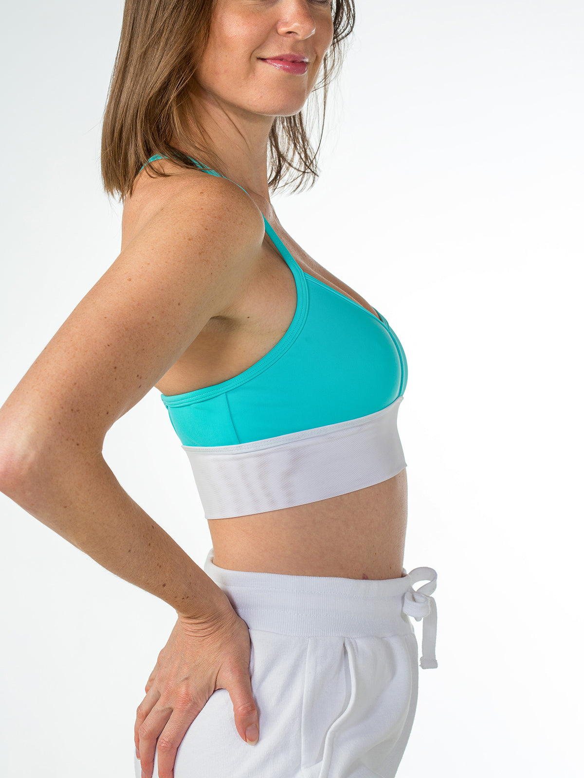 Zen Strappy Sports Bra Aqua with White Mesh