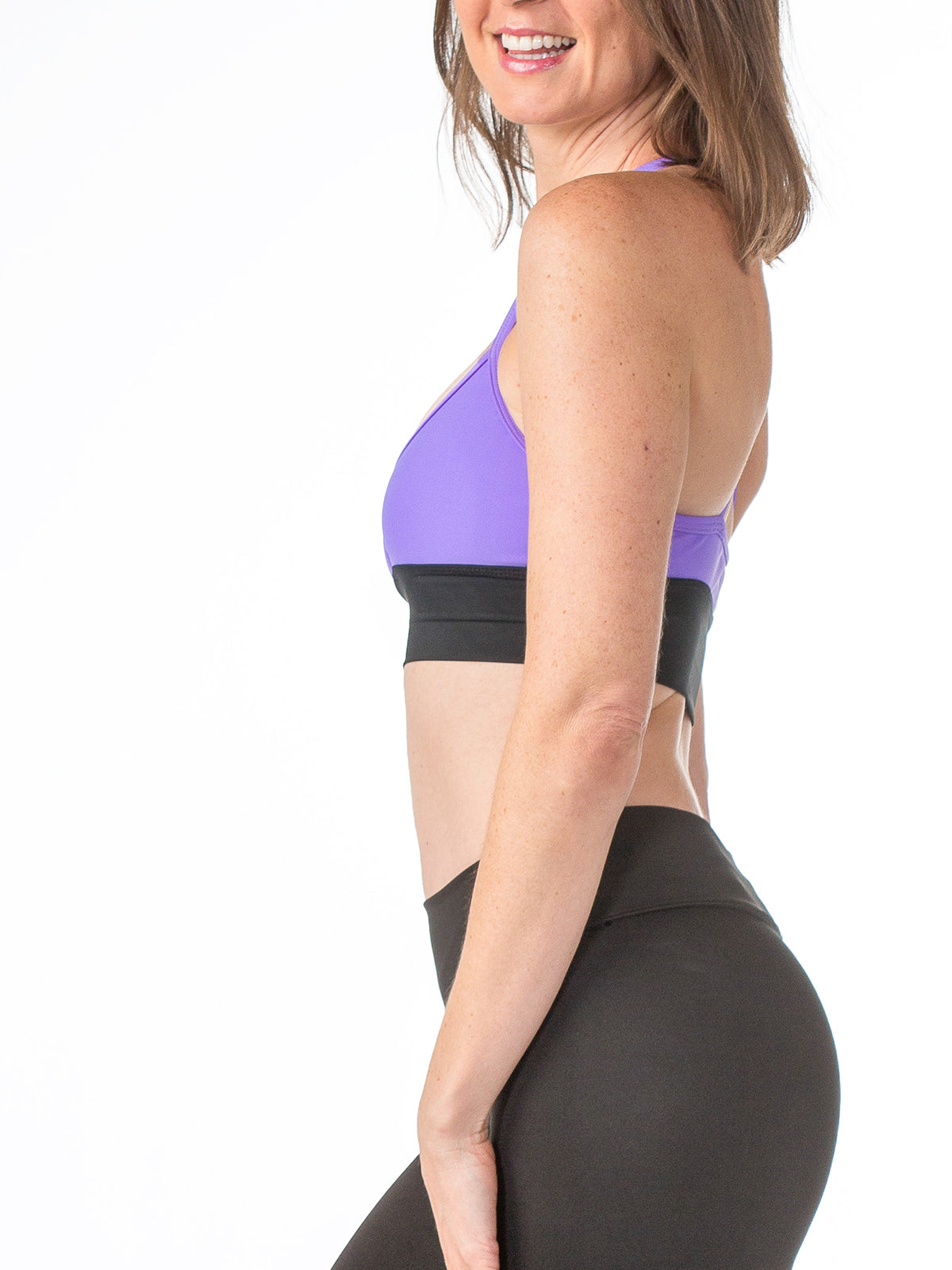 Zen Strappy Sports Bra Iris Purple with Black Mesh