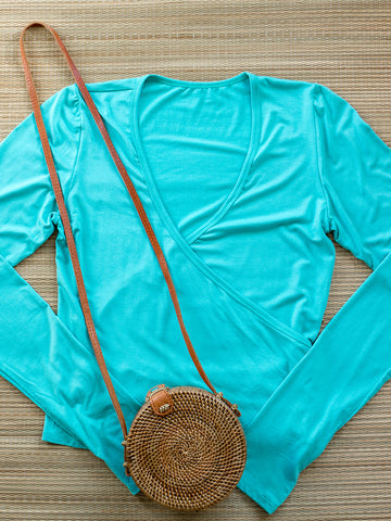 Spellbound Long Sleeve Wrap Top Teal With Thumbholes