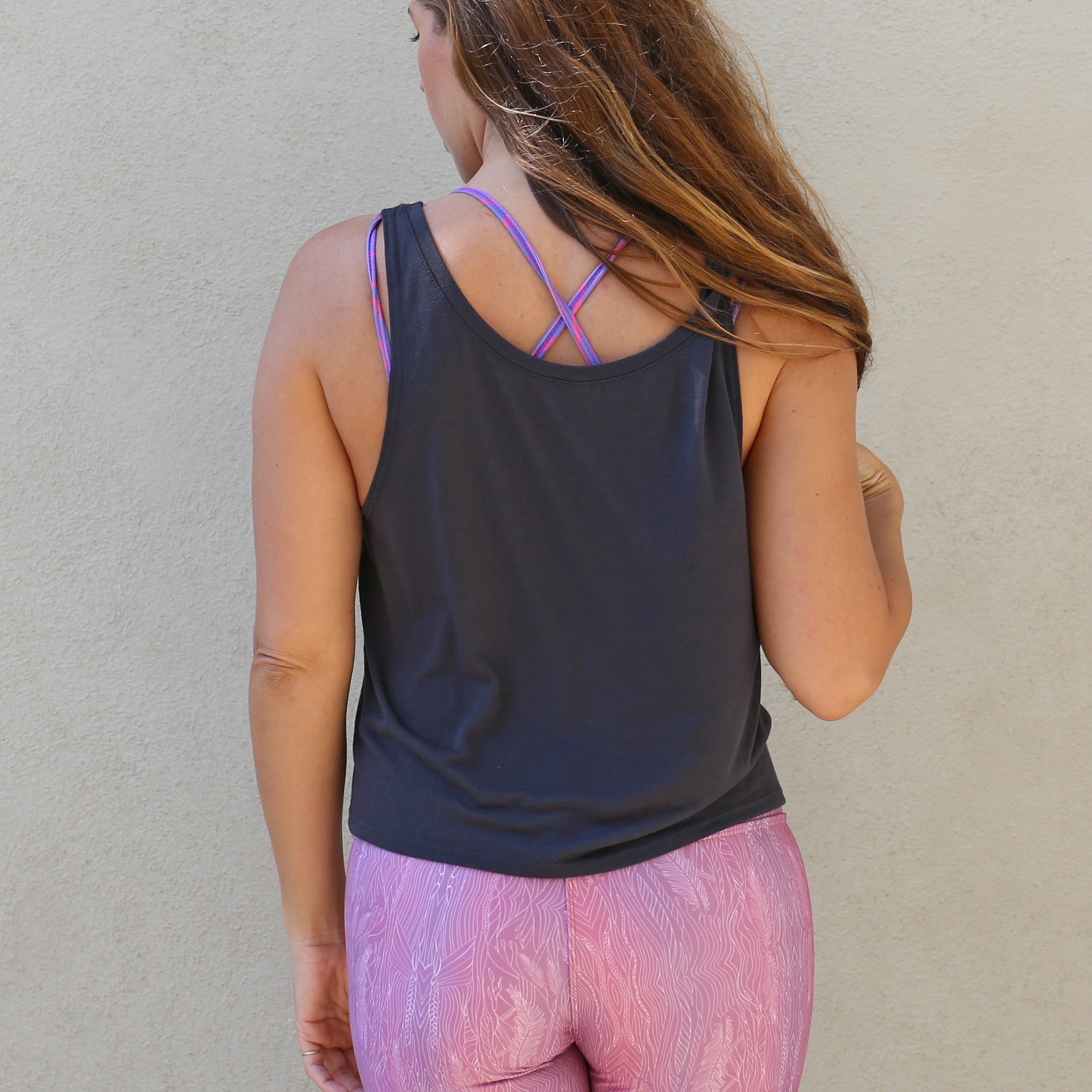 "Graphic Tank ""Meet Me At The Barre"" Charcoal Grey"