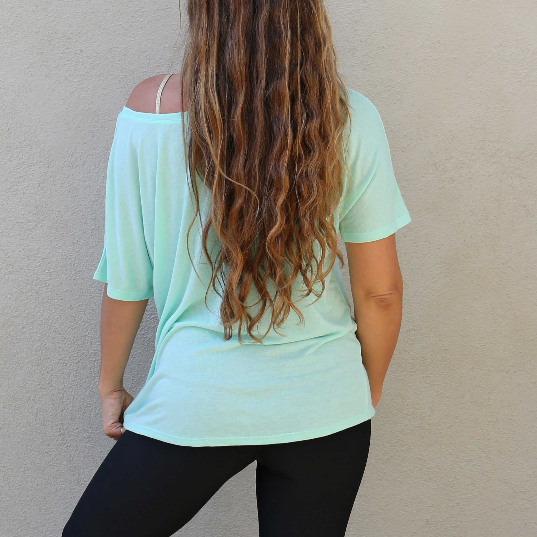 "Graphic Tee Slouchy Fit ""Meet Me At The Barre"" Mint Green"