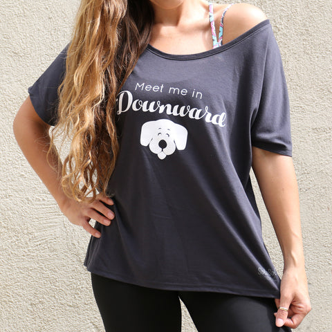 "Graphic Slouchy Tee ""Meet Me In Downward Dog"" Charcoal Grey"