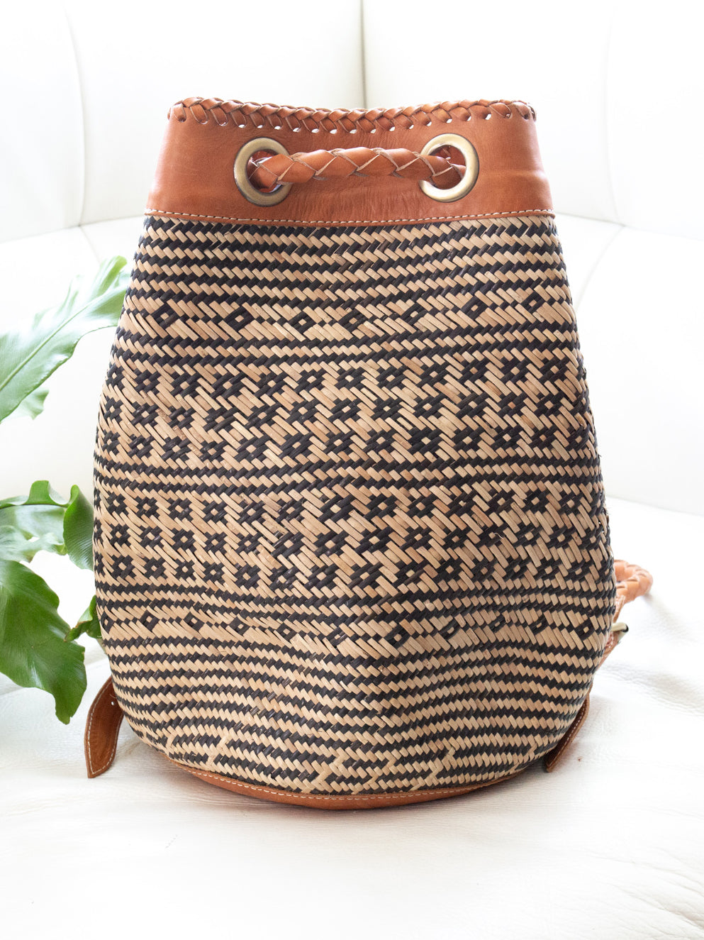 Thank Heaven Handwoven Back Pack Purse Black + Natural