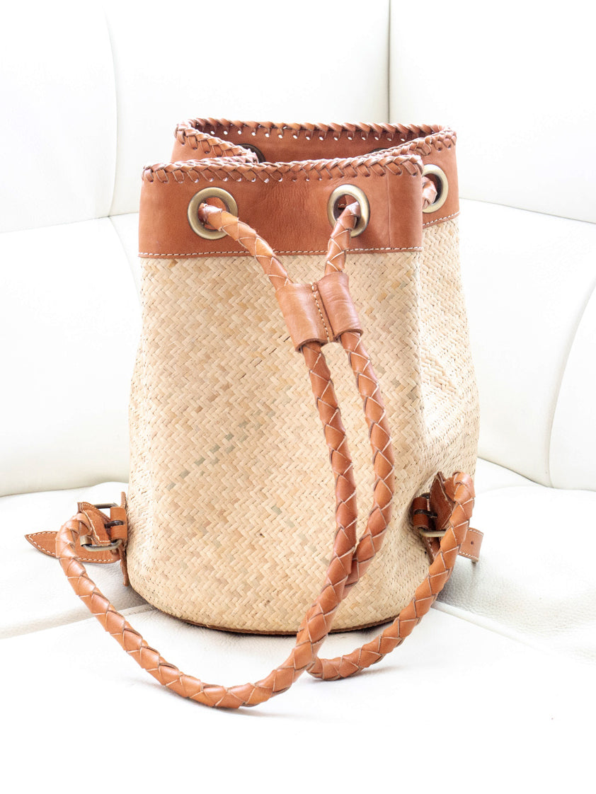 Thank Heaven Handwoven Back Pack Purse Soy Milk