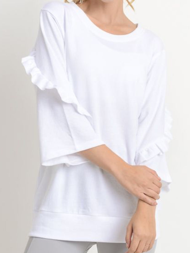 Ruffle Swirl Top Cloud White