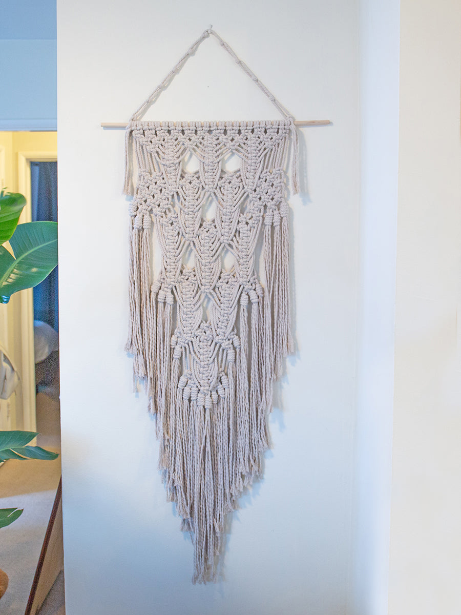 Zen Soft Gray Cotton Handmade Macrame Wall Hanging