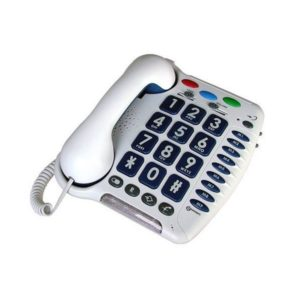 White desk telephone with large buttons