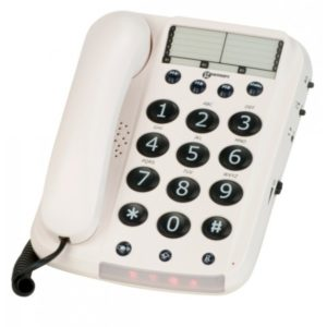 White desk phone with large numbers