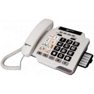 White desk telephone with photo buttons