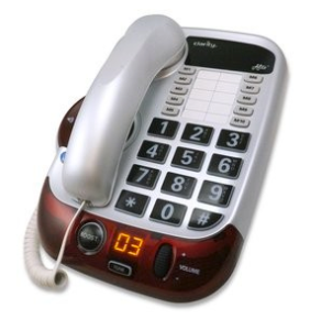 silver and red loud speaker corded desk phone