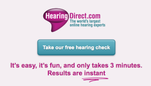 Image of the hearing test starting screen