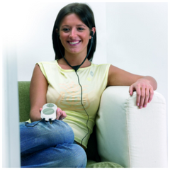 Image of woman wearing Crescendo personal amplifier