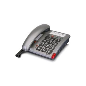 Silver grey desk phone with large buttons