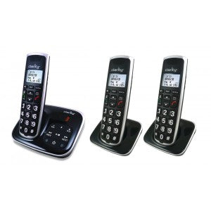 Three black with silver edging cordless phones with big buttons