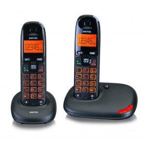 Two Black cordless phones, with matching base units