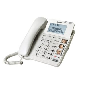 White desk phone with photo buttons