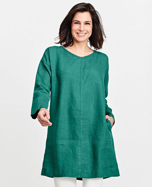 Flax Whisperer Dress Emerald