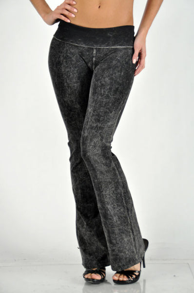 Black Mineral Washed Yoga Pants
