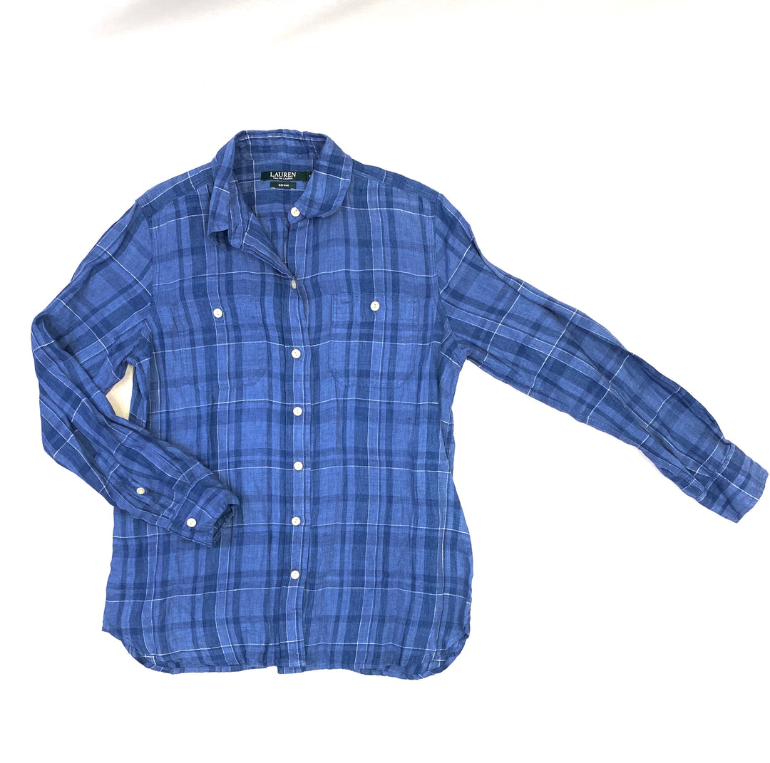 Primary Photo - BRAND: LAUREN BY RALPH LAUREN <BR>STYLE: TOP LONG SLEEVE <BR>COLOR: BLUE WHITE <BR>SIZE: XS <BR>OTHER INFO: PLAID <BR>SKU: 223-22318-106884