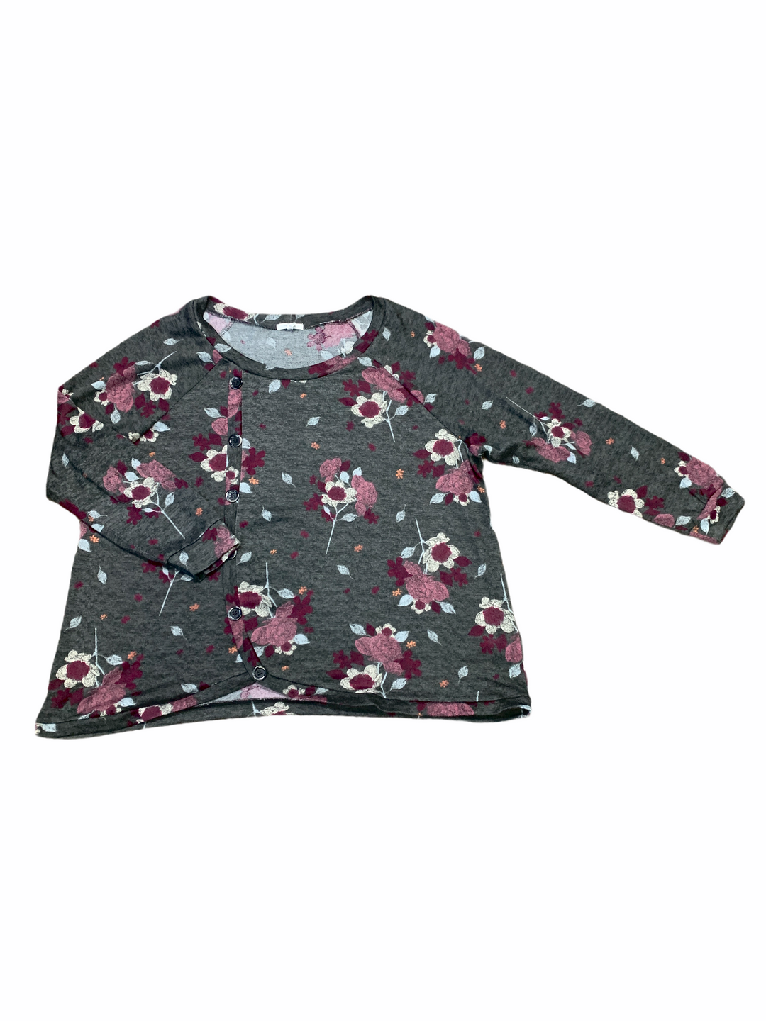 Primary Photo - BRAND: MAURICES <BR>STYLE: SWEATER LIGHTWEIGHT <BR>COLOR: FLORAL <BR>SIZE: 3X <BR>OTHER INFO: CHARCOAL W PINK WHITE ORANGE <BR>SKU: 223-22361-21883