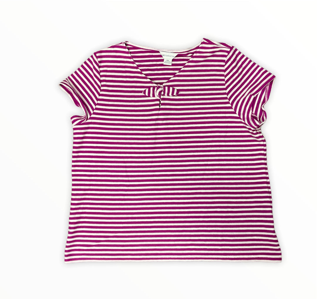 Primary Photo - BRAND: LIZ CLAIBORNE <BR>STYLE: TOP SHORT SLEEVE BASIC <BR>COLOR: STRIPED <BR>SIZE: 1X <BR>OTHER INFO: PURPLE WHITE <BR>SKU: 223-22370-16690