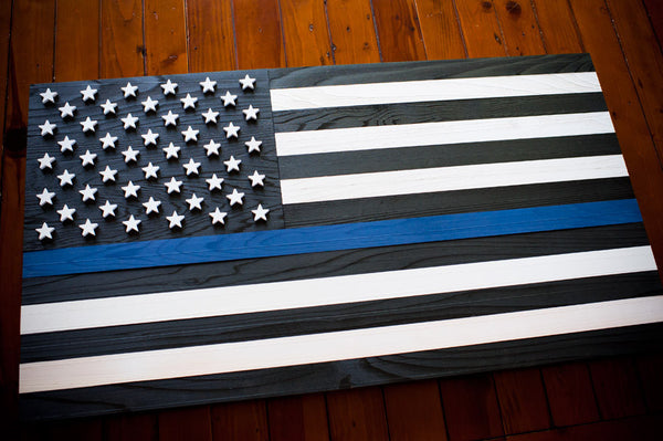 Blue Thin Line Wood Flag