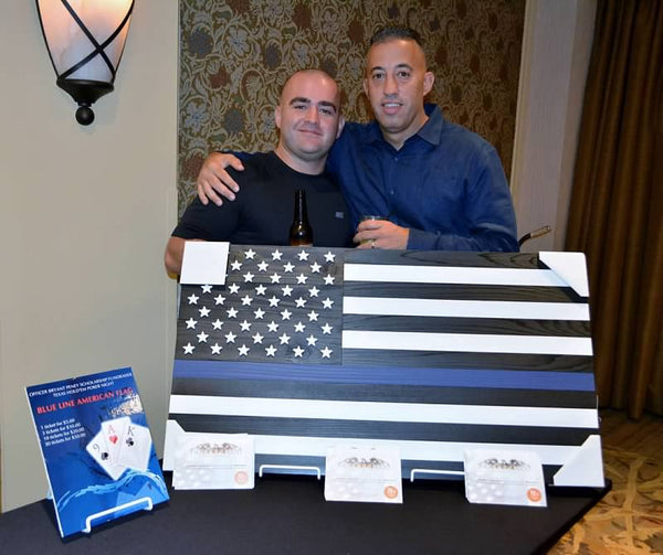 Captain Alvarez's Blue Thin Line Wood Flag