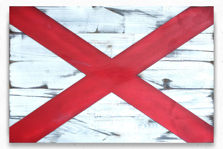 Alabama Wood Flag in Vintage finish handmade by Patriot Wood