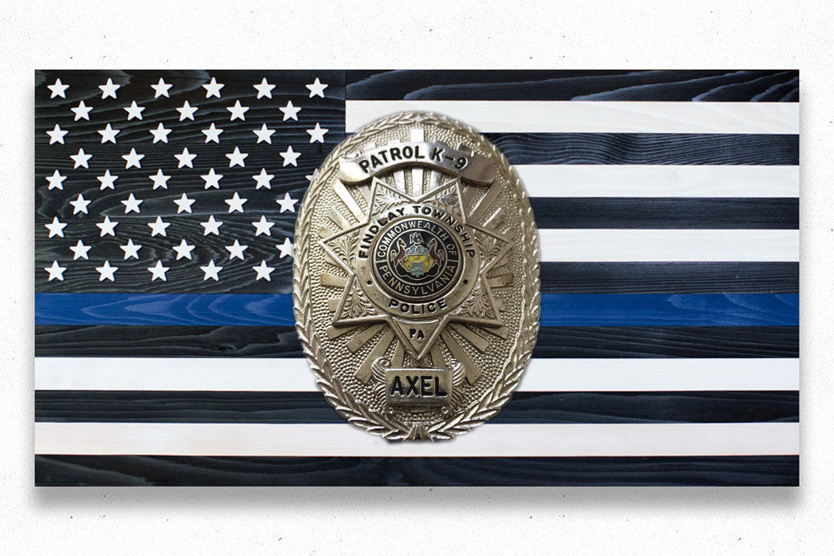 Thin Blue Line K9 Custom Wood Flag