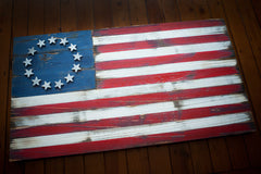 Betsy Ross Vintage Wood Flag