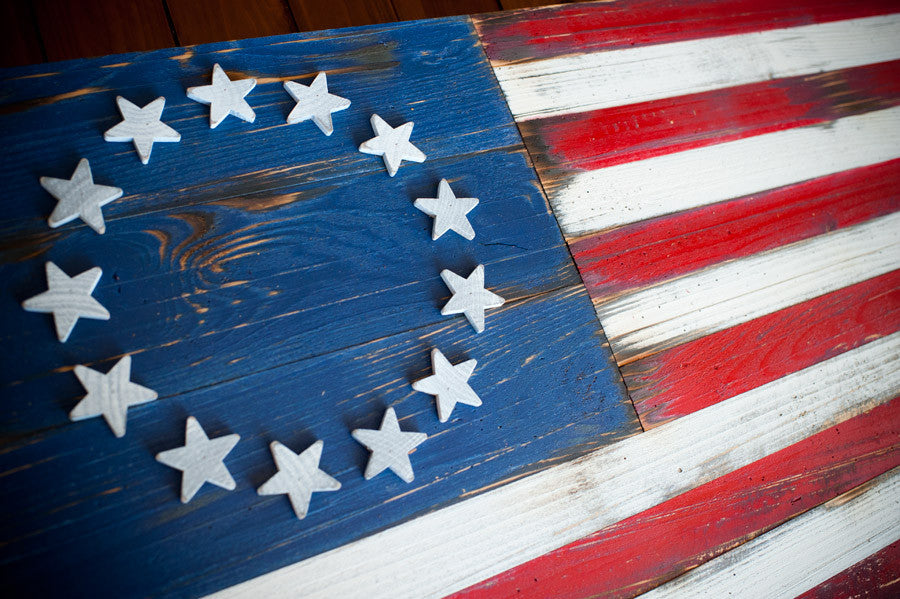 5 vintage wood american flag designs for your home patriot wood the betsy ross flag was designed during the american revolution and features 13 stars to represent the original 13 colonies many flags with 13 stars were publicscrutiny Choice Image
