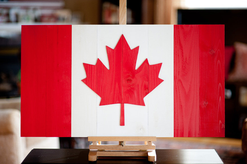Wooden replica of the Maple Leaf flag