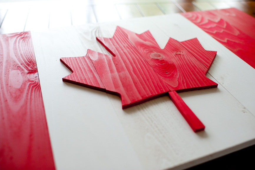 Details of the wooden replica of the Maple Leaf flag