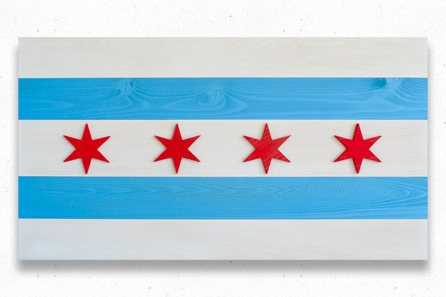 Wooden replica of the Chicago flag