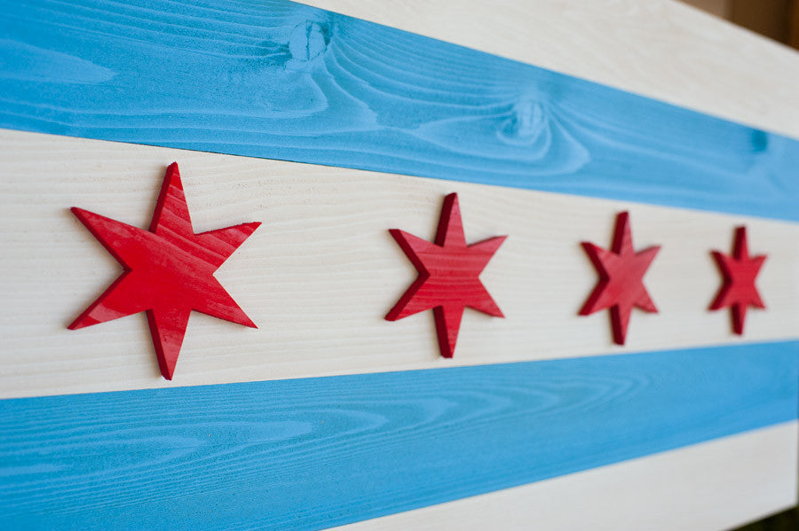 Details of Chicago wood flag