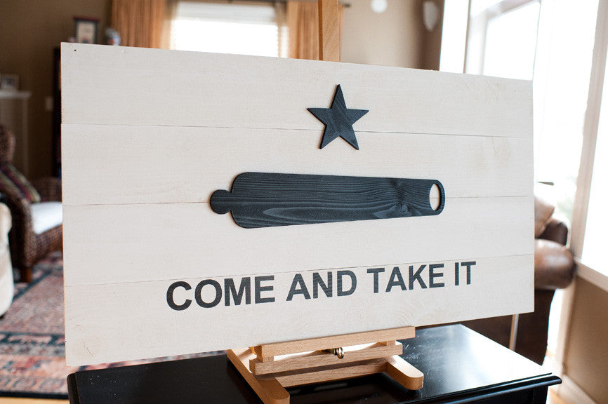Come And Take It Wood Flag, wooden wall art by Patriot Wood