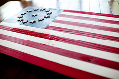 Cowpens wood flag, US wooden flag, wall art by Patriot Wood