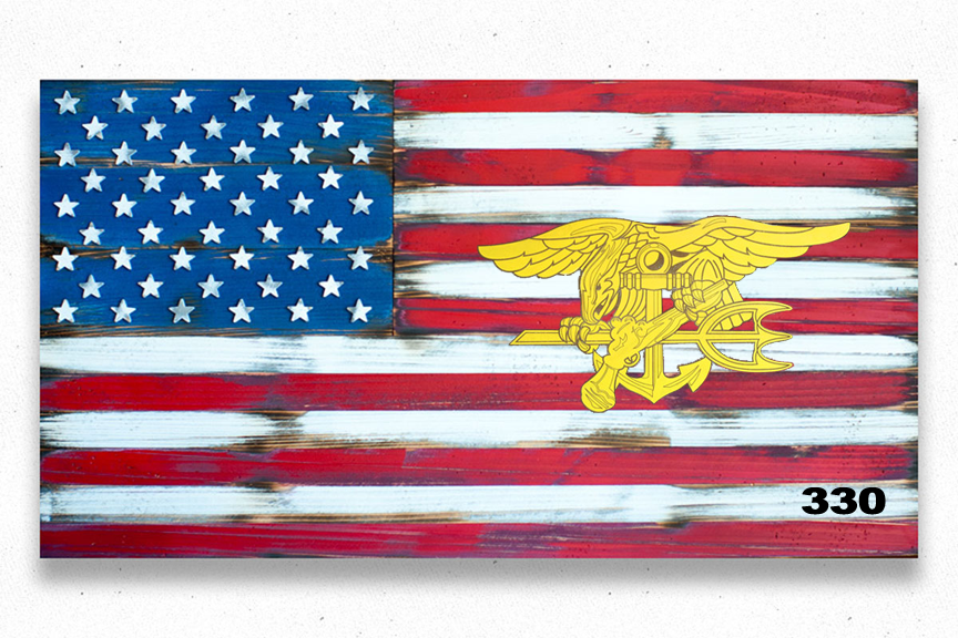 Navy Seals Vintage USA Wood Flag